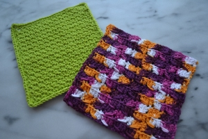 green and vintage dishcloths